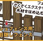 既存のメッシュフェンスをおしゃれな木製フェンスに!