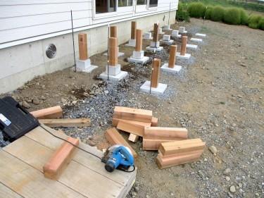 ウッドデッキ レッドシダー DIY 束柱