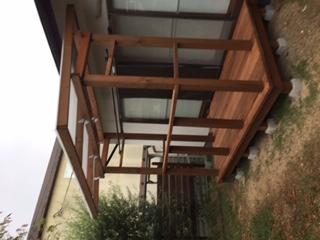 屋根付きパーゴラとウッドデッキ(ウェスタンレッドシダー)