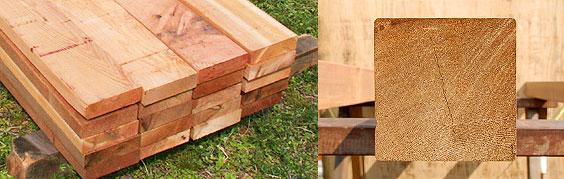 用意した木材(ウエスタンレッドシダー)
