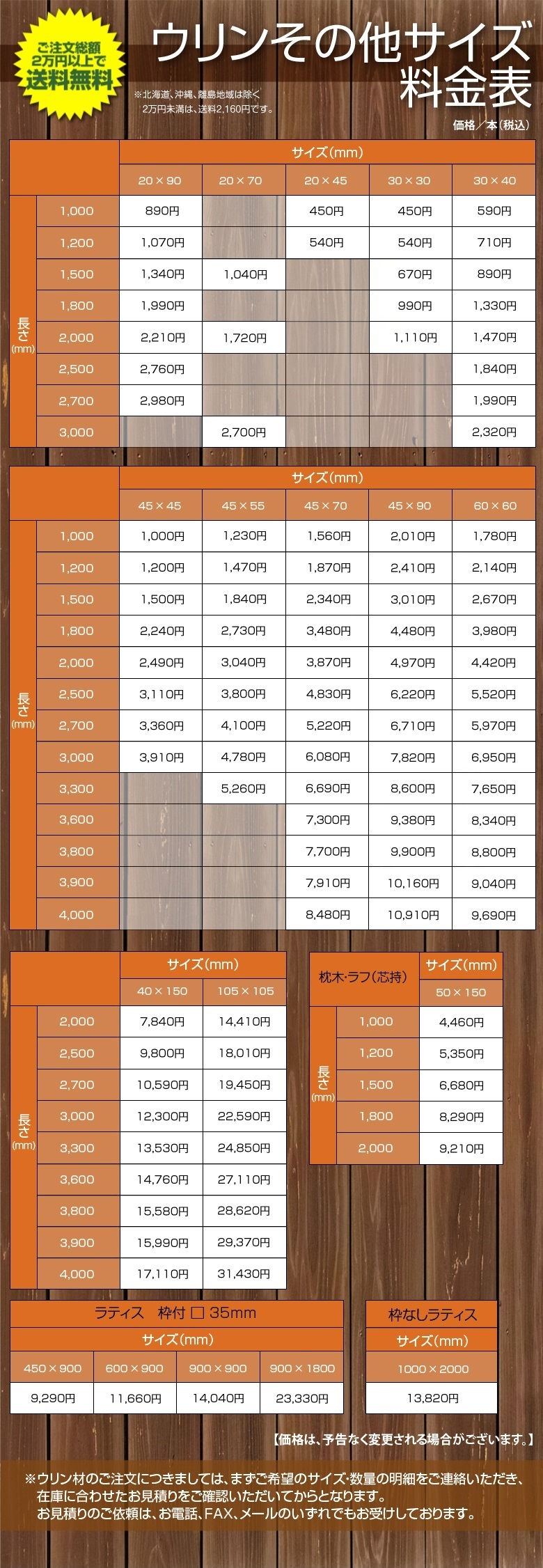 ウリン料金表